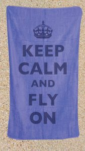 keep calm and fly on beach towel
